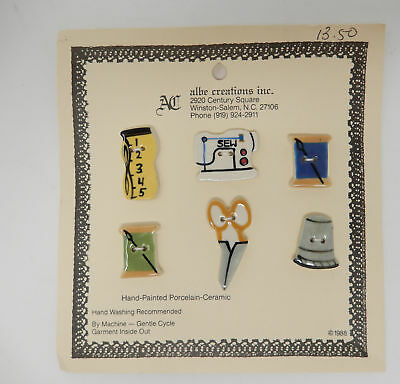 1988 Albe Creations -6- Ceramic Buttons Sewing Theme Thimble Spool Scissors
