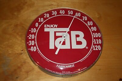 Original 1984 Tab Round Thermometer Coca Cola Soda Advertising 12""