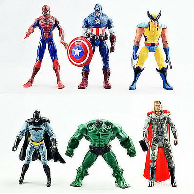 NEW 6Pcs The Avengers Captain Thor Hulk Wolverine Batman Action Figure Gift Toy