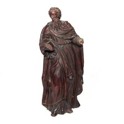 Antique French Hand Carved Wooden Statue Figurine Saint Mark Gospel 18th Century