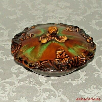 Vintage Ornate Lid Ceramic Bowl / Candy Dish Brown Green 70's Decor  Calif USA
