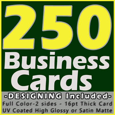 250 Business Cards Full Color 2 Side Printing UV Coated-Free Designing-Shipping