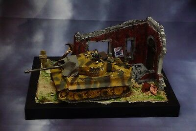 1/35 Pro-built diorama WWII German Tiger I tank with figure and more