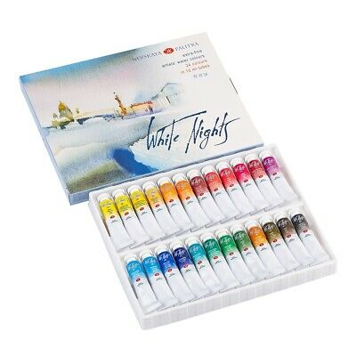 24 Color Watercolor Paint Tubes 10ml St.Petersburg Extra Fine Set WHITE NIGHTS