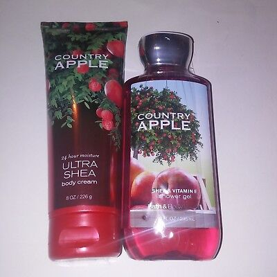 Set of 2 Bath and Body Works Country Appple Shower Gel Body Cream Full Size