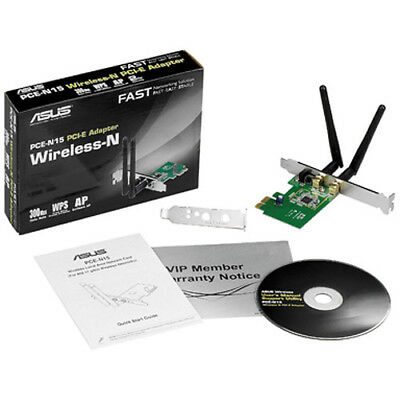 Asus PCE-N15 N300 Wireless PCIE Network Card WiFi for Desktop PC 300Mbps 2.4GHz