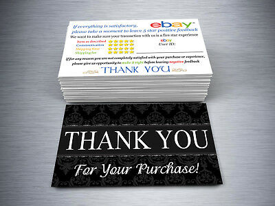100 Ebay Thank You Business Cards-16pt Thick Card-Both side Satin AQ Coating