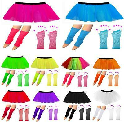 NEON 80s FANCY DRESS HEN PARTY COSTUME TUTU SKIRT SET LEGWARMER GLOVES UV DANCE