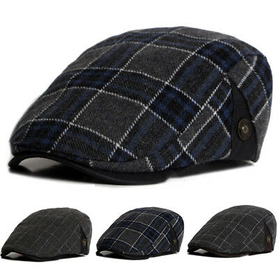 Mens Tartan Plaid Check Newsboy Cabbies Golf Flat Cap Ivy Beret Driver Baker Hat