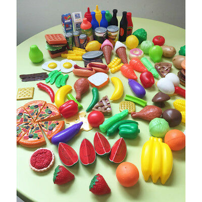 120pcs Kids Pretend Role Play Kitchen Fruit Vegetable Food Toy Cutting Set Gift