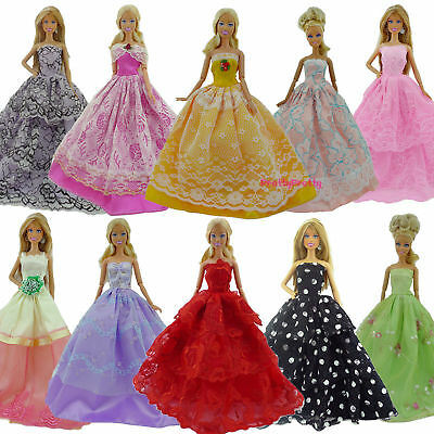 5pcs Wedding Dress Party Gown Clothes Outfits For Barbie Doll Decoration