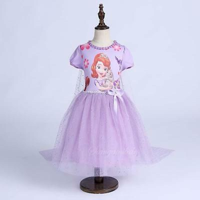 Girl Elsa Anna Sofia the First Tutu Dress Costume with Cape for Party Birthday