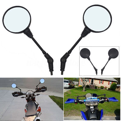 Pair 10mm Round Motorcycle Folding Rearview Side Mirror For Honda Suzuki KTM ATV