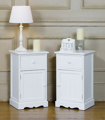 Pair of Shabby Chic Bedside Cabinet Tables with Drawers White Wooden  Listed for