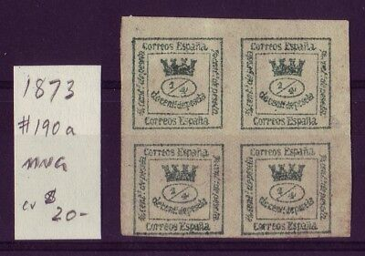 SPAIN • First Republic • 1873 • Coat of Arms • Block of 4 • SC190a         23206
