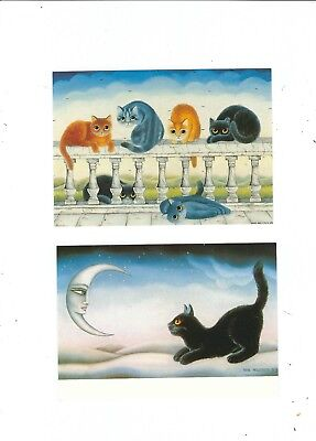 2 Cat Postcards  Artist Style By Anna Hollerrer   Over The Moon