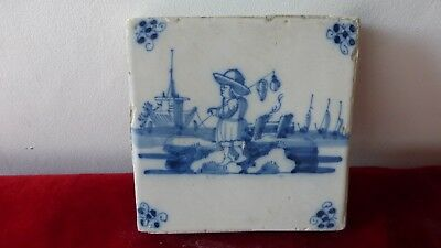 Antique Dutch Delft Lille Tile. Ancien carreau carrelage Delft Lille.......A2.