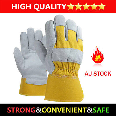 2 Pair soft Leather Yellow canvas Electric Welding Gloves Heat Gear Protective