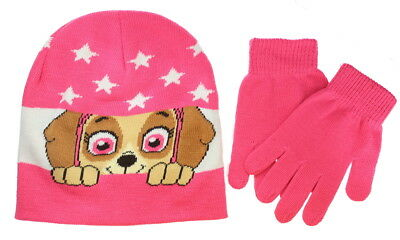 Paw Patrol Hat and Gloves Set Skye Girls Pink Winter Fits All - One Size