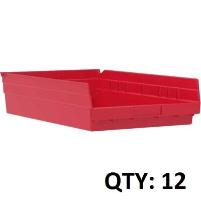 Akro Mils Red Plastic Nesting Shelf Bins Organization Rack 18x11x4 SET OF 12