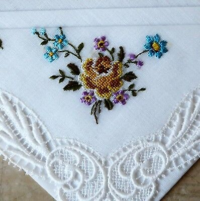 Vintage 1950s Hand Embroidered Swiss Cotton Handkerchief- Yellow Rose