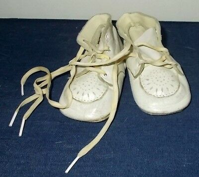 Vintage 1940's/1950's Leather Lace-Up Baby First Walking Shoes-Cut-Outs on Toes