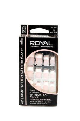Royal 24 Ongles Carrés Courts Avec Colle French Manicure