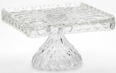 Cake Plate Pastry Tray Bakers Stand - Elizabeth - Mosser USA - Crystal Glass