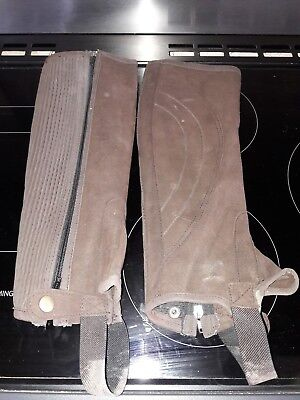 Horse Riding Half Chaps Adults small. Brown suede material