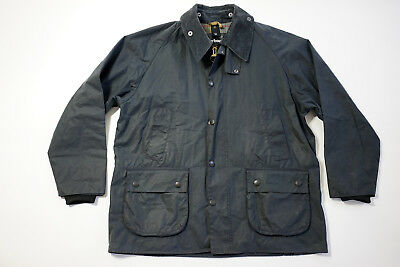 Barbour Bedale Jacket Navy Blue Plaid lining Waxed Jacket Size C44 112 CM 44
