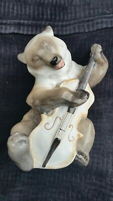 Rare 1940's Ussr / Russian Porcelain Lomonosov Bear With Bass