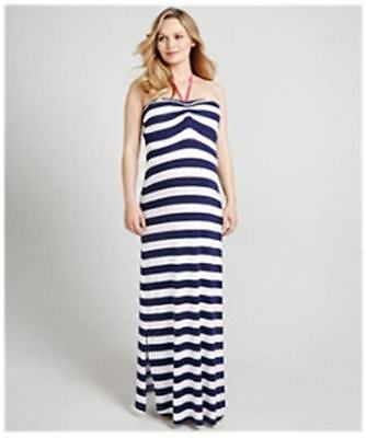 Mothercare Blooming Marvellous Maternity Blue Striped Maxi Halterneck Dress 14