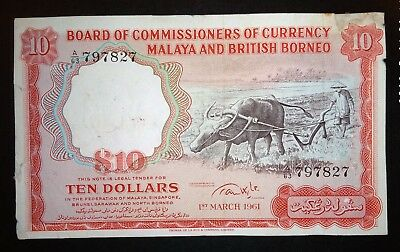 Malaya & British Borneo 10 dollars note 1961.