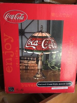 Coca Cola Stained Glass Lamp.Vintage Coca Cola Stained Glass Style Accent Lamp Brand