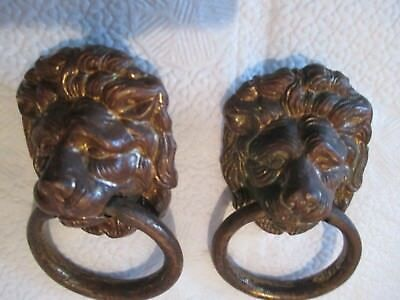 "3 solid brass ""lion head""  drawer pull handles"