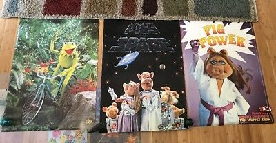 Lot of 3 Muppet Movie Poster Pig Power Pigs In Space Miss Piggy Kermit The Frog