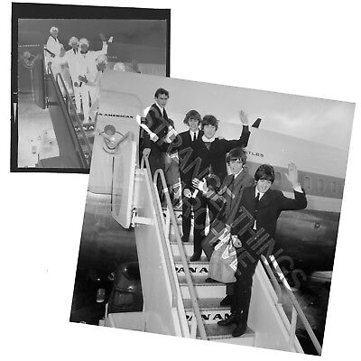Original and Unseen BEATLES B&W Negative - 'Arriving from USA 1964'