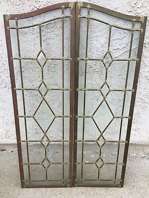 Beautiful Antique Pair Of Leaded Glass Windows