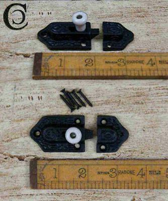 Cast Antique Iron Cupboard Slide Bolt with a Ceramic Knob - 75mm