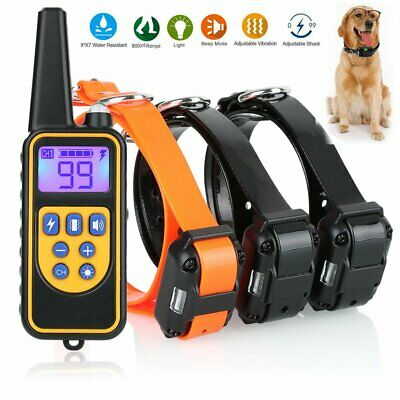 875 Yards Dog Shock Training Collar Rechargeable Remote Control Waterproof IP67