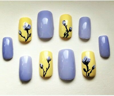 Painted False Nails SQUARE (Or Any Shape) Yellow Purple Flowers SUMMER