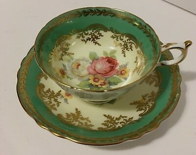 Paragon Fine Bone China Green Gold and Floral Tea Cup And Saucer