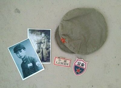 a5f3edff7 Korean War Chinese Communist Military Police cap PLA hat PVA CPV NK KPA  patches