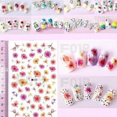 Summer Flower Butterfly Nail Art Water Transfer Decals Manicure Acrylic Decor UK