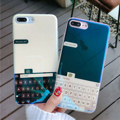 Hot Couple Keyboard Laser Glossy Soft Case For iPhone X XR XS Max 6 6s 7 8 Plus