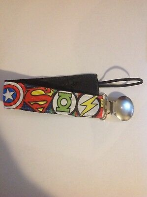 Baby Boy Girl Pacifier Clip Holder Super Heroes Green Lantern Batman Flash Super