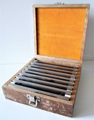 """VINTAGE SET OF MACHINIST/ TOOLMAKER PARALLELS W/ WOODEN CASE 0.5 to 1.5 in X 6"""""""