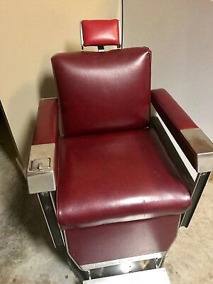 WORKING! PAIDAR APOLLO 1960 Red Antique Metal Mid-Century Vintage Barber Chair.