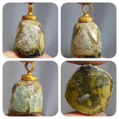 Beautiful Gold plated pendant with Ancient roman Glass   # F3