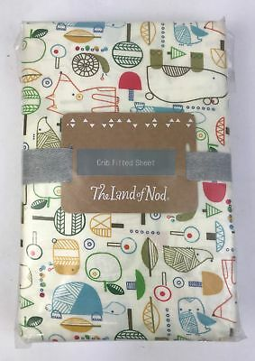 The Land of Nod 100% Organic Cotton Crib Fitted Sheet in Multi Nature Trail